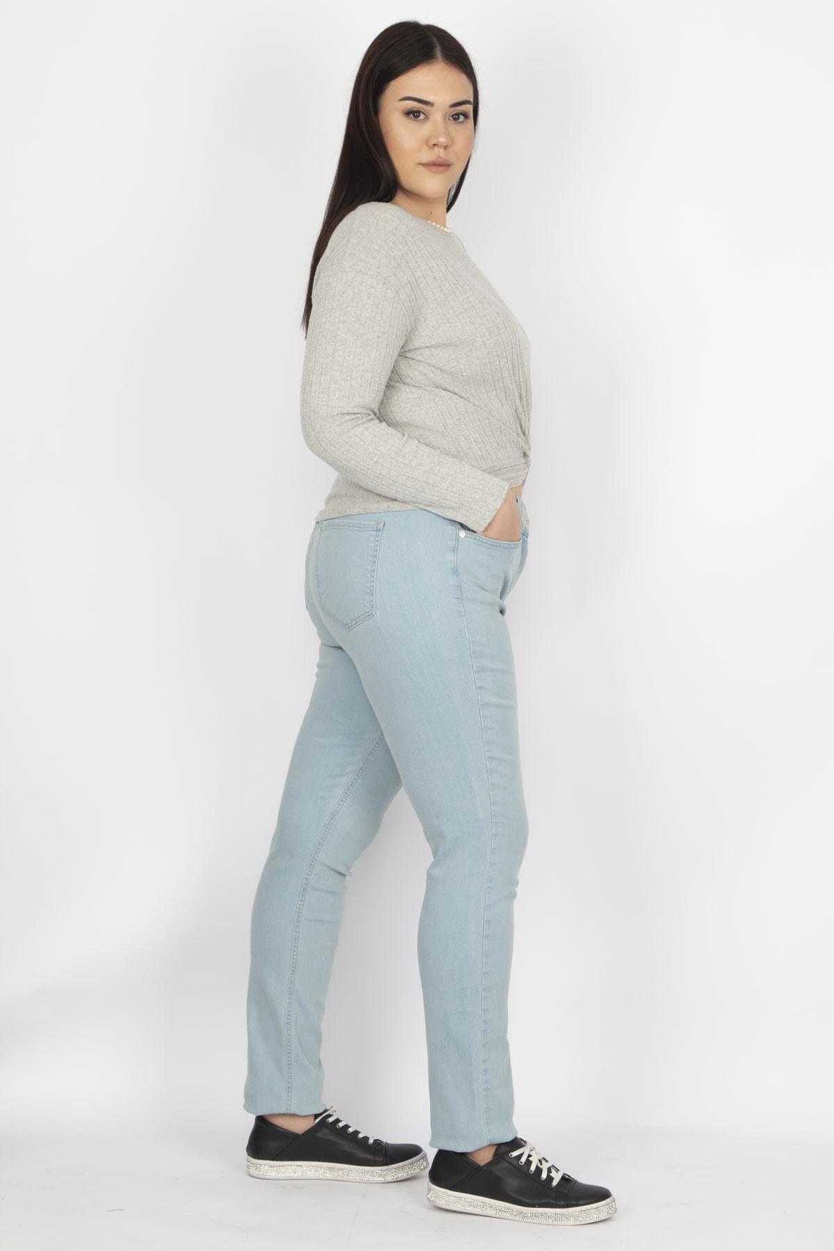 Şans Kadın Mavi Likralı Gabardin Kumaş 5 Cepli Pantolon 65N19451 1