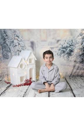 Ninna Kids Çocuk Gri Pazen Pijama Takımı Nakışlı