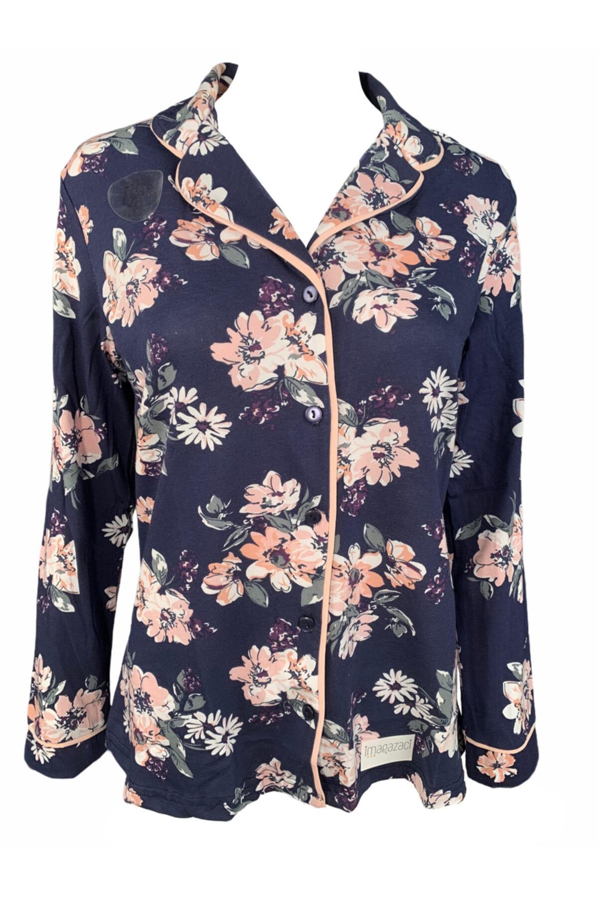 Koza Kadın Mavi Pamuklu Pijama Takımı 2