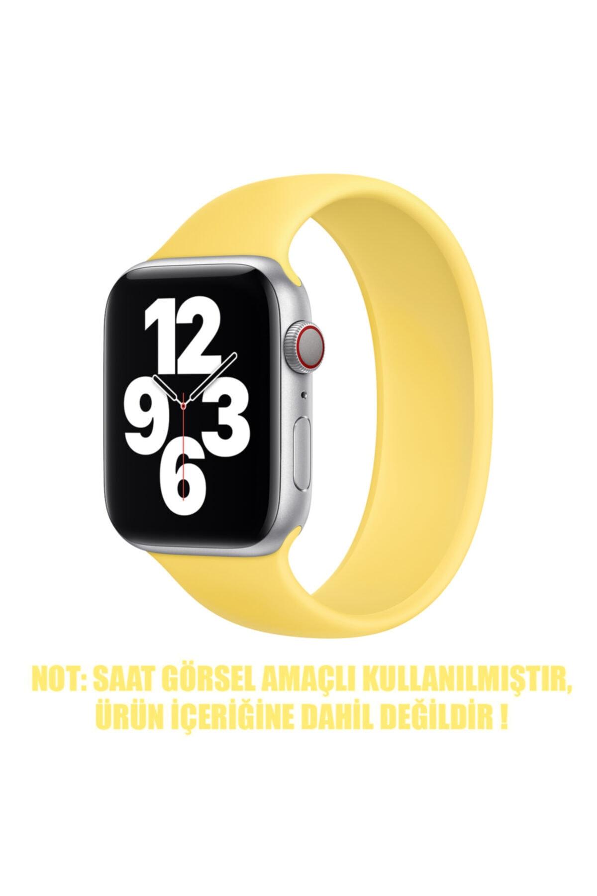 Microsonic Apple Watch Series 3 38mm Kordon, (medium Size, 145mm) New Solo Loop Sarı 2