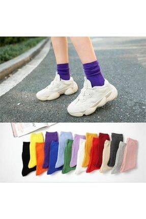 çorapmanya 12 Çift Çok Renkli Çizgisiz Pamuklu Kolej Tenis Çorap