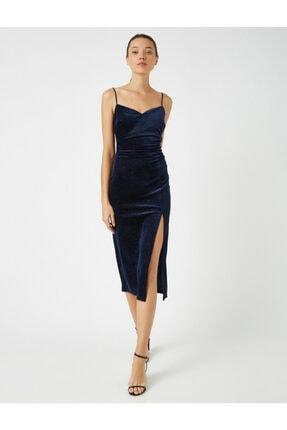 Koton Kadın Lacivert Askılı Kadife Yırtmaçlı Elbise