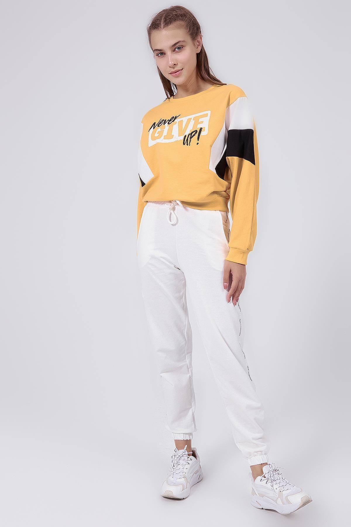 Y-London Kadın Beyaz Şeritli Paçası Lastikli Eşofman Altı Y20W166-3954 1
