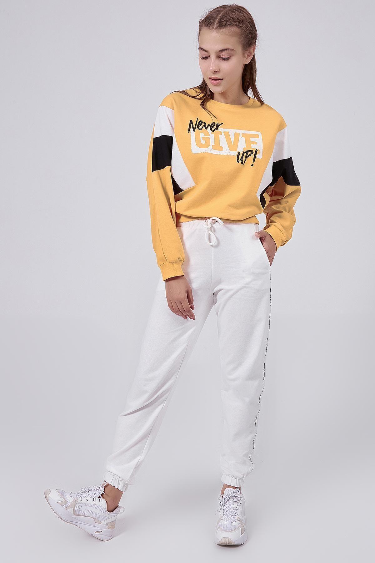 Y-London Kadın Beyaz Şeritli Paçası Lastikli Eşofman Altı Y20W166-3954 2