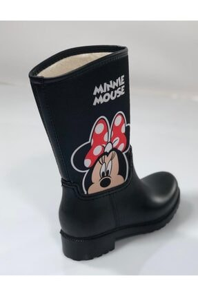EKOFARK Kız Çocuk Siyah Mınnıe Mouse Yağmur Çizmesi