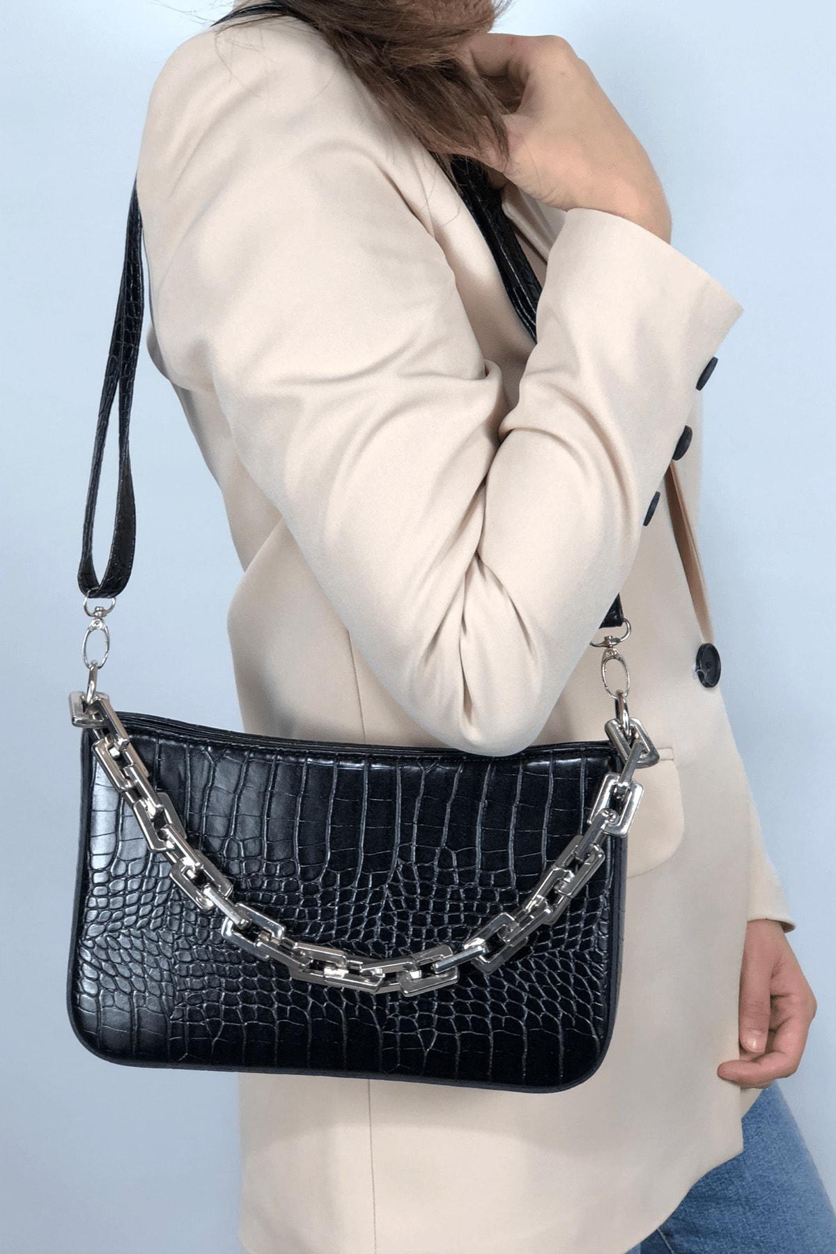 LinaConcept Kadın Siyah Kroko  Baget Zincir Askılı Omuz Çantası 2