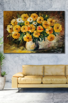 Hediyeler Kapında 100x140 Yağlı Boya Görünümlü Sarı Çiçekler Kanvas Tablo