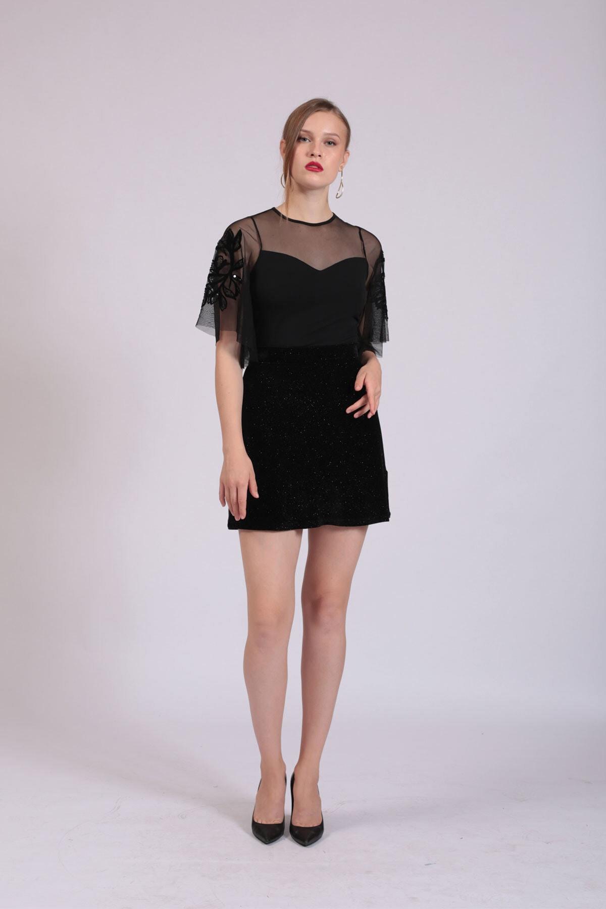 Hanna's by Hanna Darsa Kadın Siyah Tül Garnili Kolları İşlemeli Bluz  HN2744 2