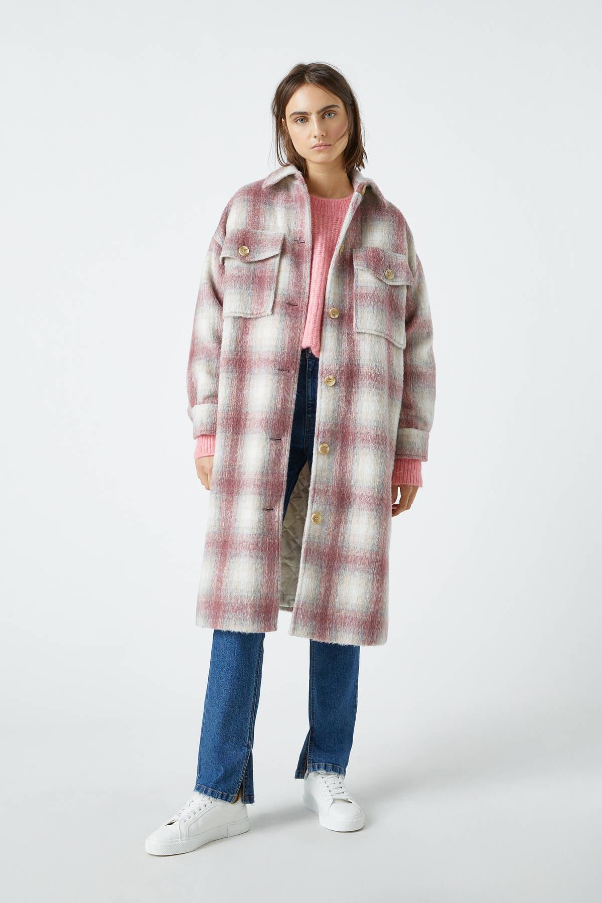 Pull & Bear Kadın Renkli Uzun Kareli İnce Ceket 09710455 1