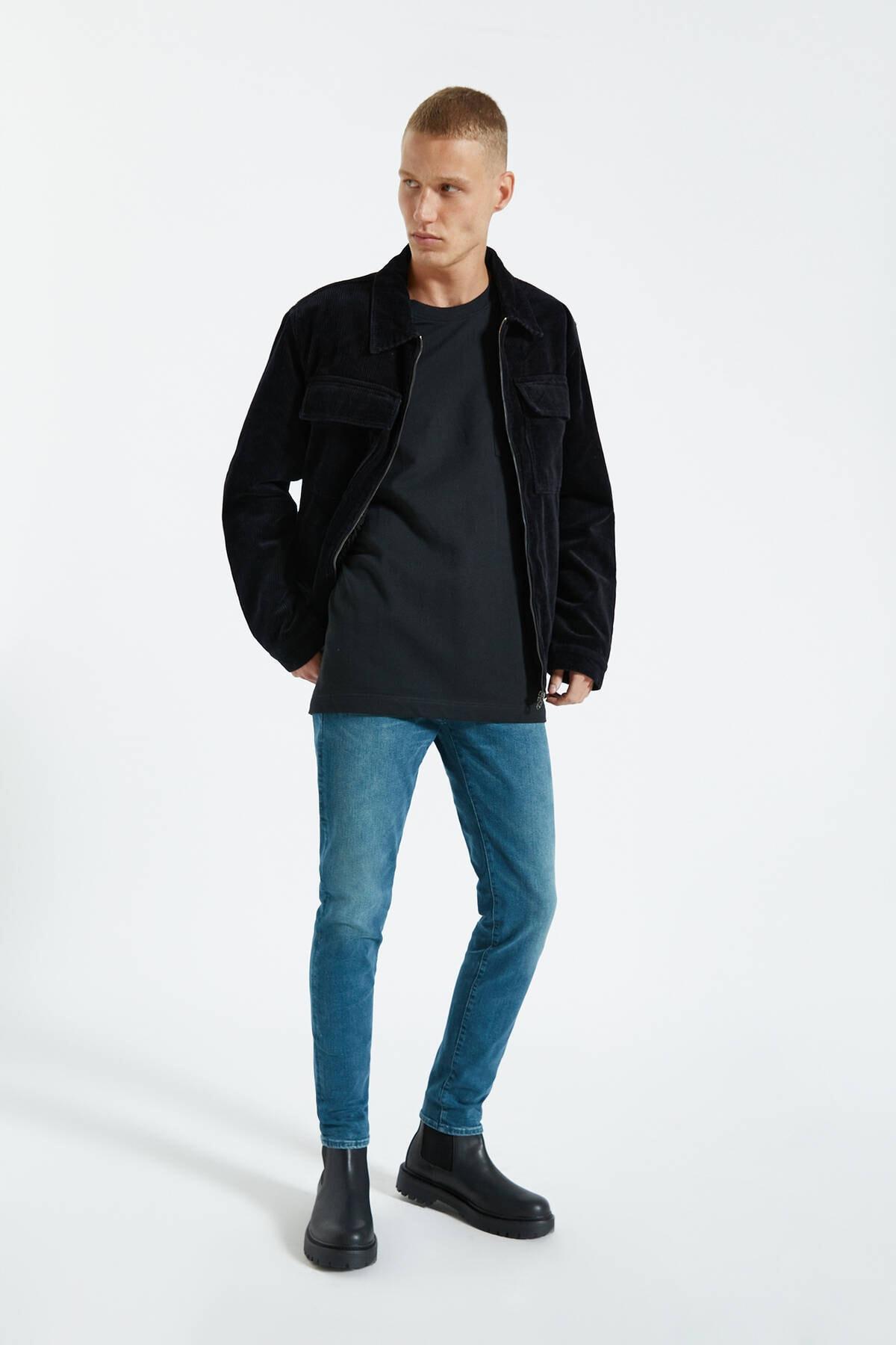 Pull & Bear Erkek Yeşilimsi Mavi Soluk Skinny Fit Jean 09683557