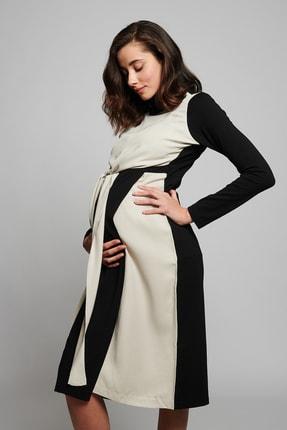 LYN MAMA Kadın Siyah Hamile Clark Elbise