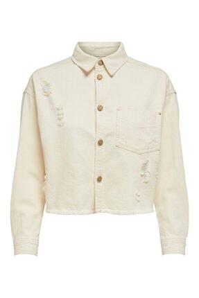 Only Kadın Beyaz Jean Ceket Midi 15195253