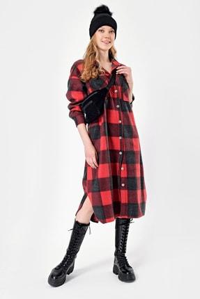 By Saygı Kadın Kırmızı Metal Düğmeli Kareli Kaşe Elbise S-21K2060010