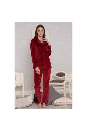 Tuğba Kadın Bordo Kadife Dantel Detaylı Pijama
