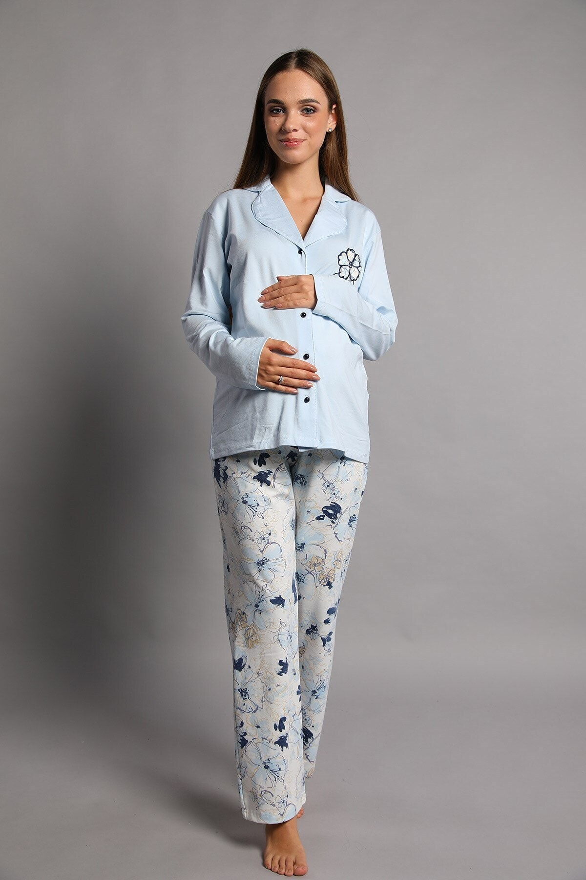Lohusa Sepeti Kadın Roos Önden Düğmeli Lohusa Pijama Takımı Lacivert 2