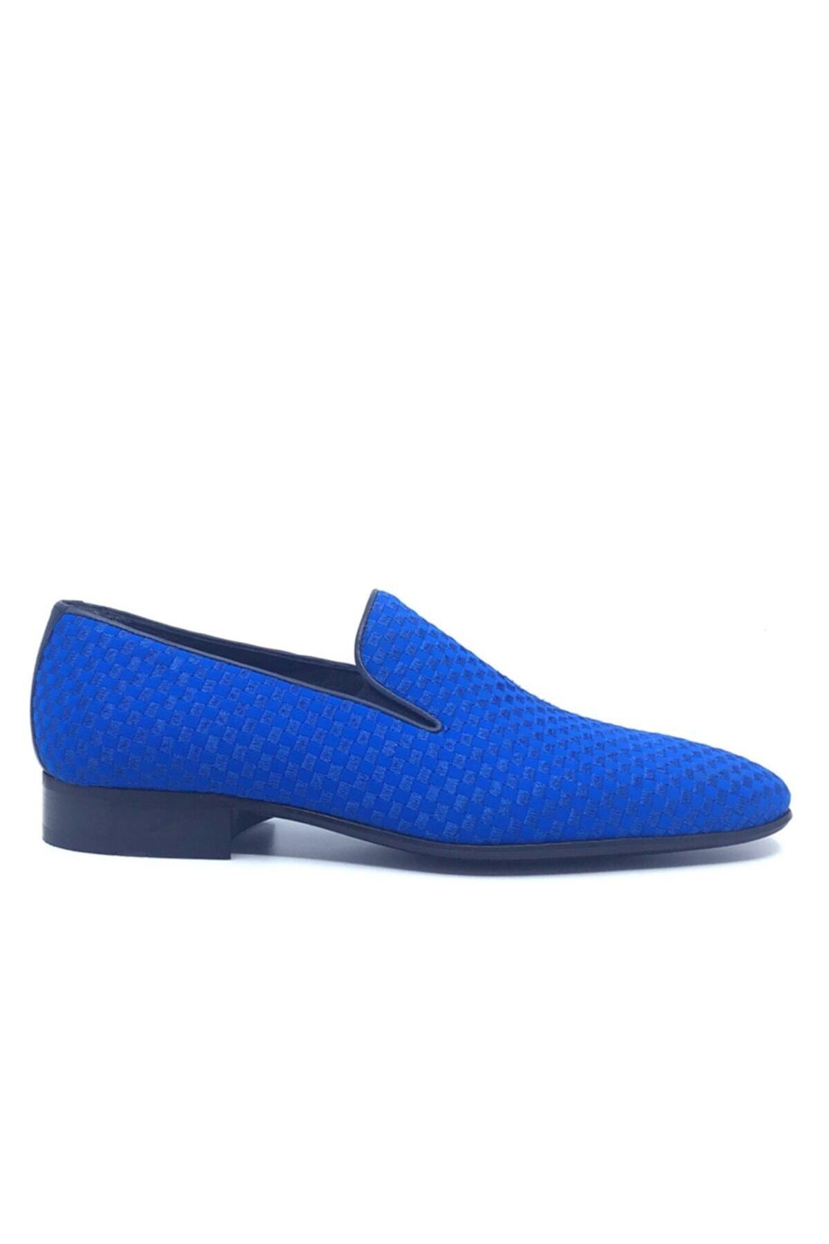 Fosco Nakışlı Mavi Klasik Erkek Ayakkabı 1305 2