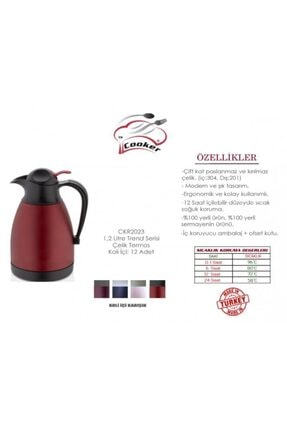 Cooker 1,2 Litre Trend Serisi Renkli Çelik Termos (ckr-2023)