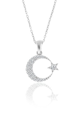 Doğan Silver Gümüş Zirkon Taşlı Ay Yıldızlı Kolye