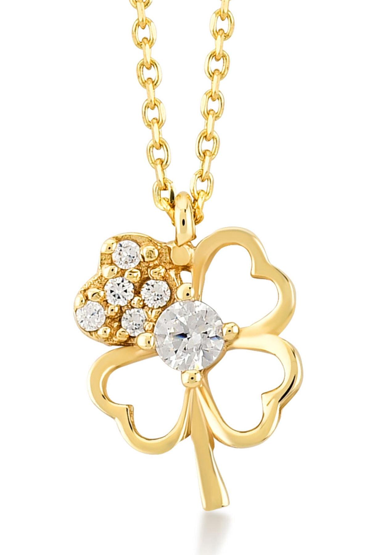 Gelin Pırlanta Gelin Diamond 14 Ayar Altın 4 Yapraklı Içi Taşlı Kalp Şekilli Yonca Şans Kolye 1