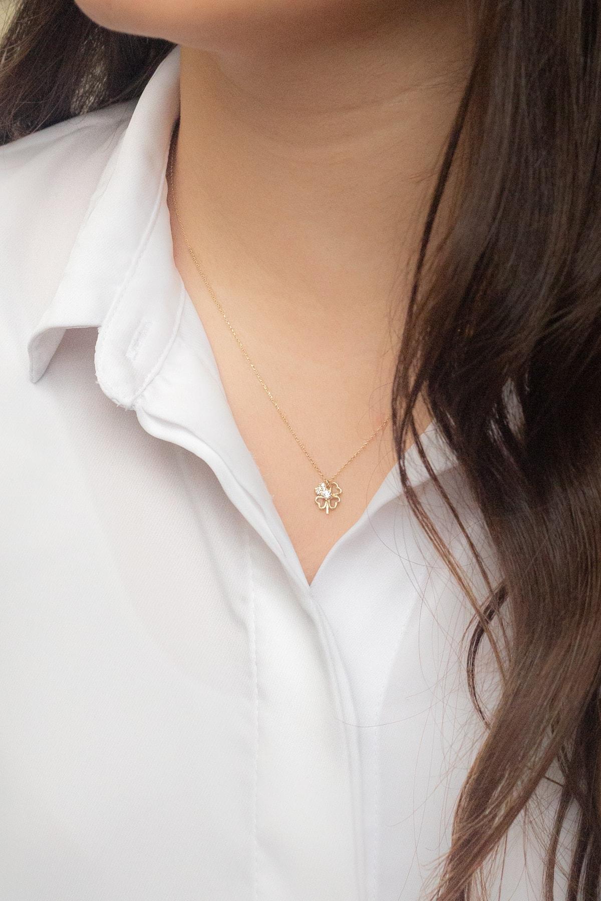 Gelin Pırlanta Gelin Diamond 14 Ayar Altın 4 Yapraklı Içi Taşlı Kalp Şekilli Yonca Şans Kolye 2