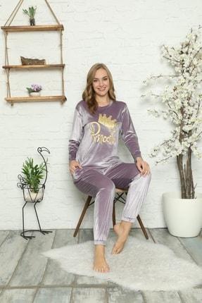 Manolya Kadın Lila Kadife Pijama Takımı 2448