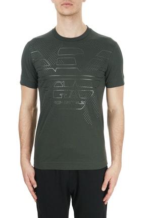 Emporio Armani Erkek Haki Baskılı Bisiklet Yaka Pamuk T-Shirt 6h1tg2 1jtuz 0564