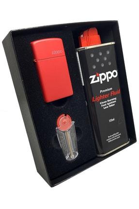 Zippo Çakmak Kırmızı Slim Hediyelik Benzin Taş Set Du10-1633zl