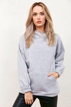 Eka Üç Iplik Şardonlu Kapüşonlu Cepli Sweatshirt