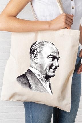 Hediyeler Kapında Atatürk Temalı Baskılı Kanvas Bez Çanta