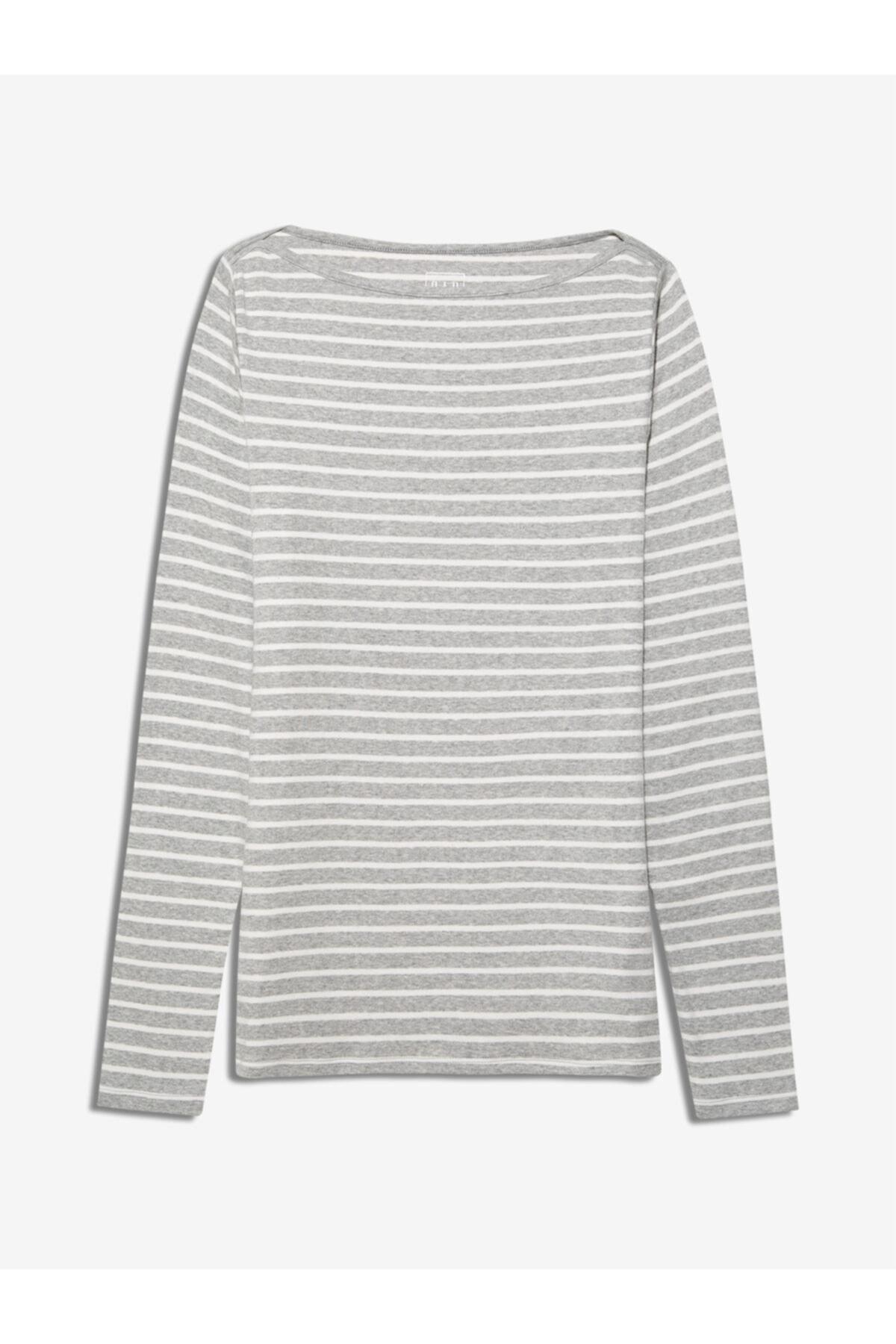 GAP Kadın Gri Uzun Kollu Çizgili T-shirt 1