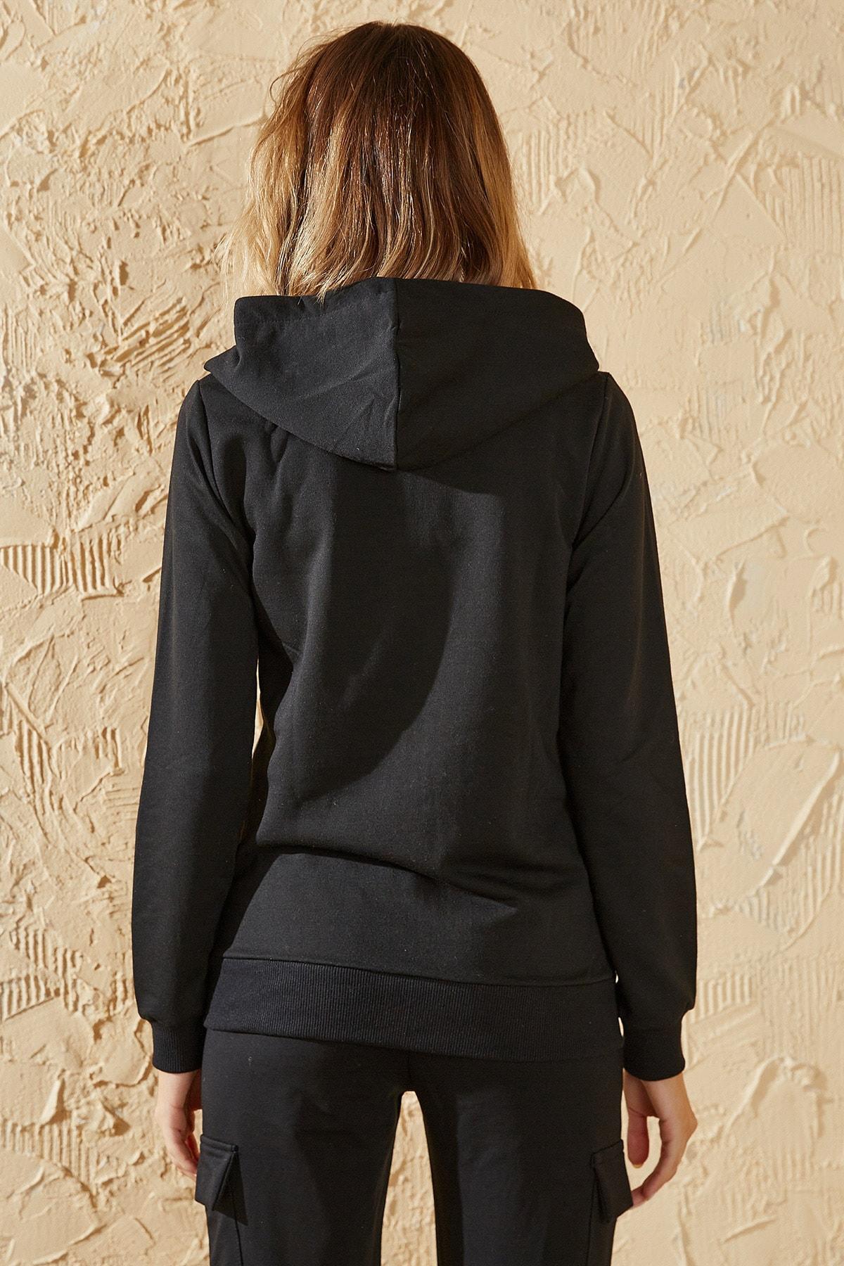 HeraModa Kadın Siyah Fermuarlı Kapüşonlu Sweatshirt 2