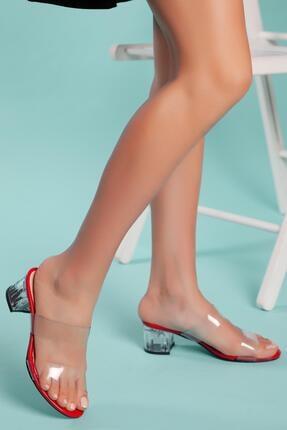 MUGGO Kadın Kırmızı Şeffaf Topuklu Terlik