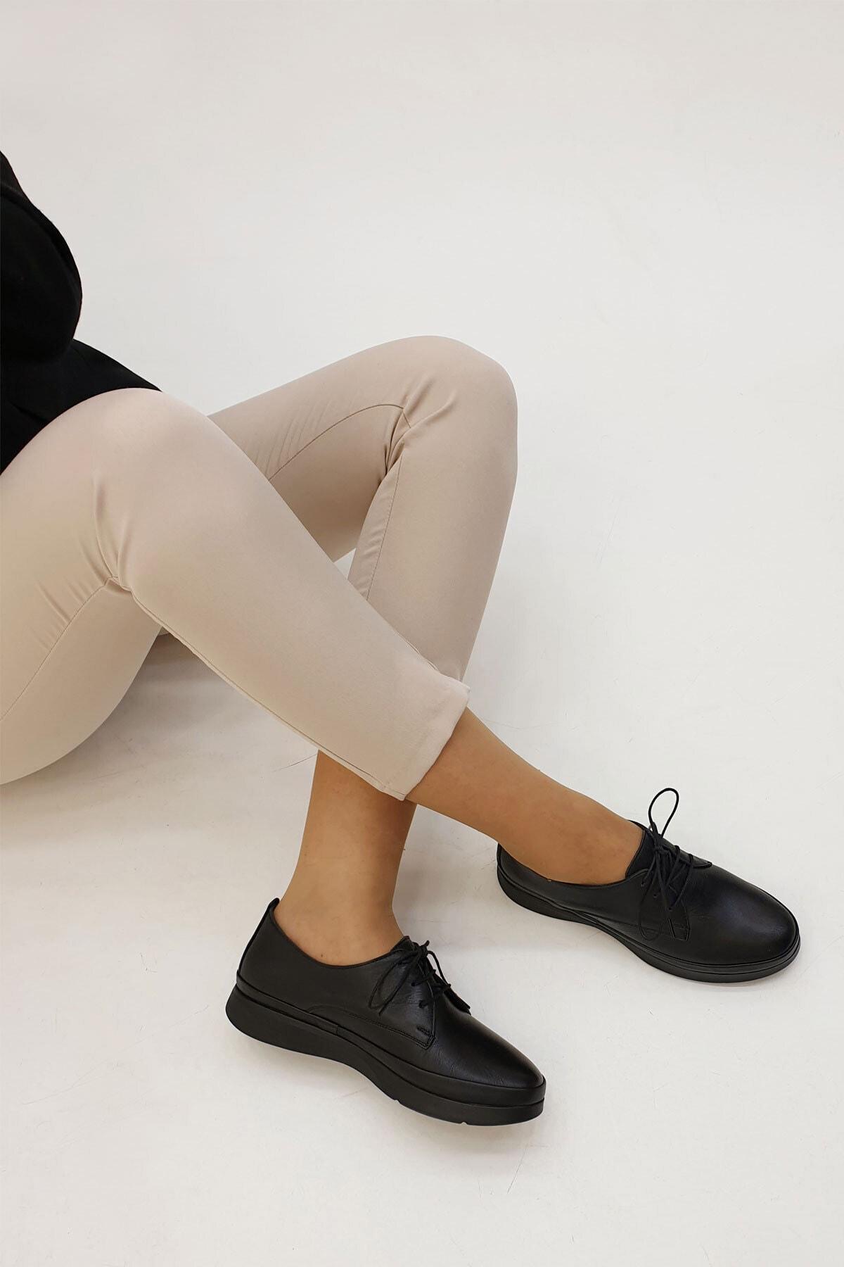 Marjin Kadın Porvez Hakiki Deri Günlük Comfort Ayakkabısiyah 1