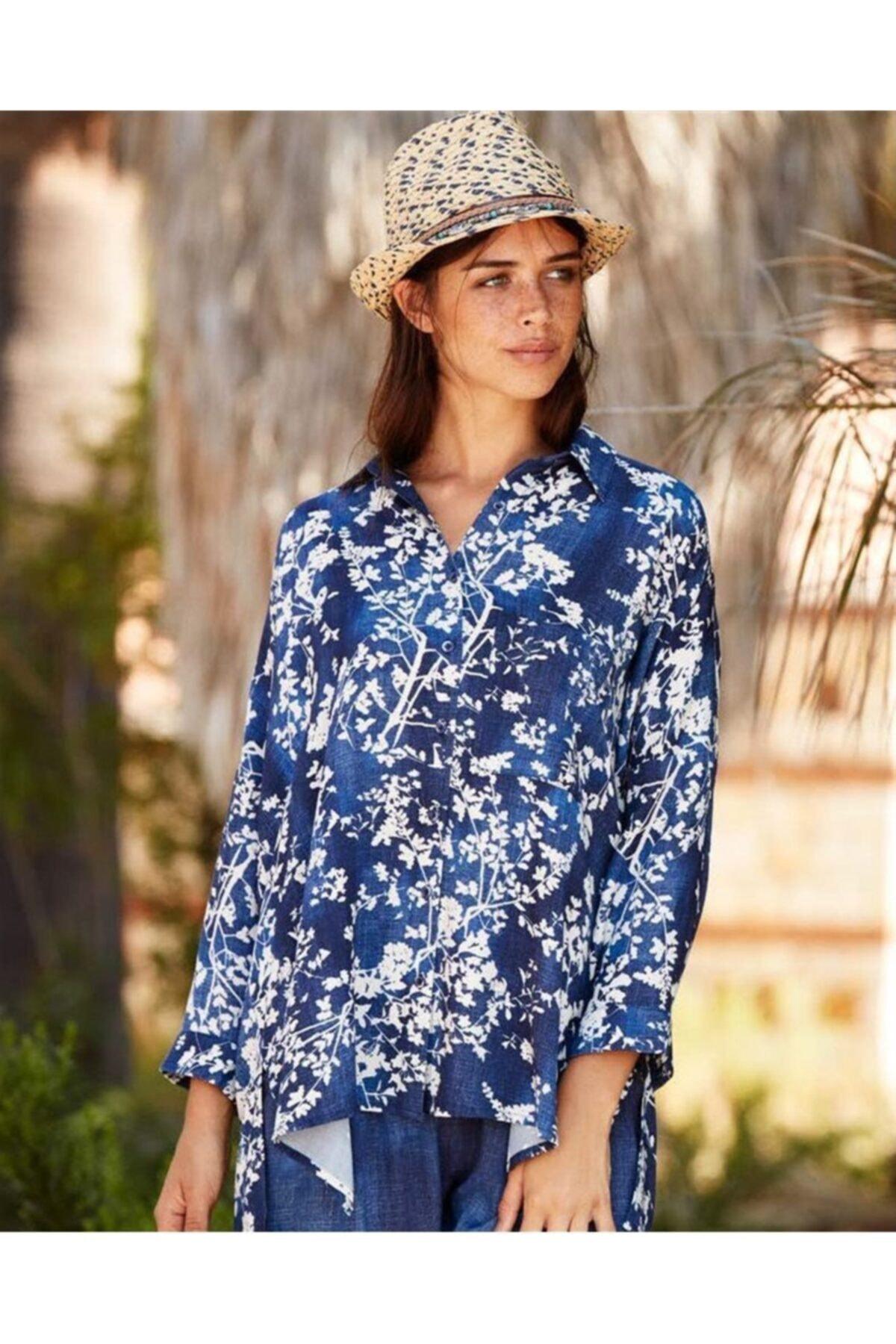 Penyemood Kadın Lacivert Çiçek Desenli Viskoz Pijama Takımı 2