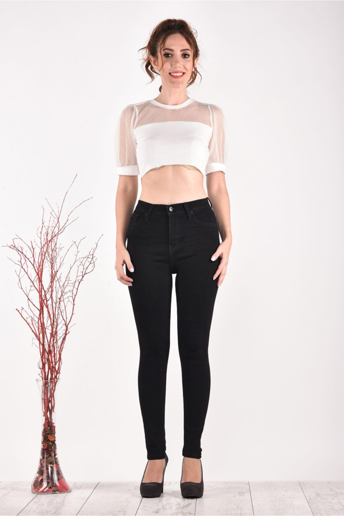 PANTOLOJİ Kadın Yüksek Bel Dar Paça 824 Model Black Bayan Jeans Pantolon 1