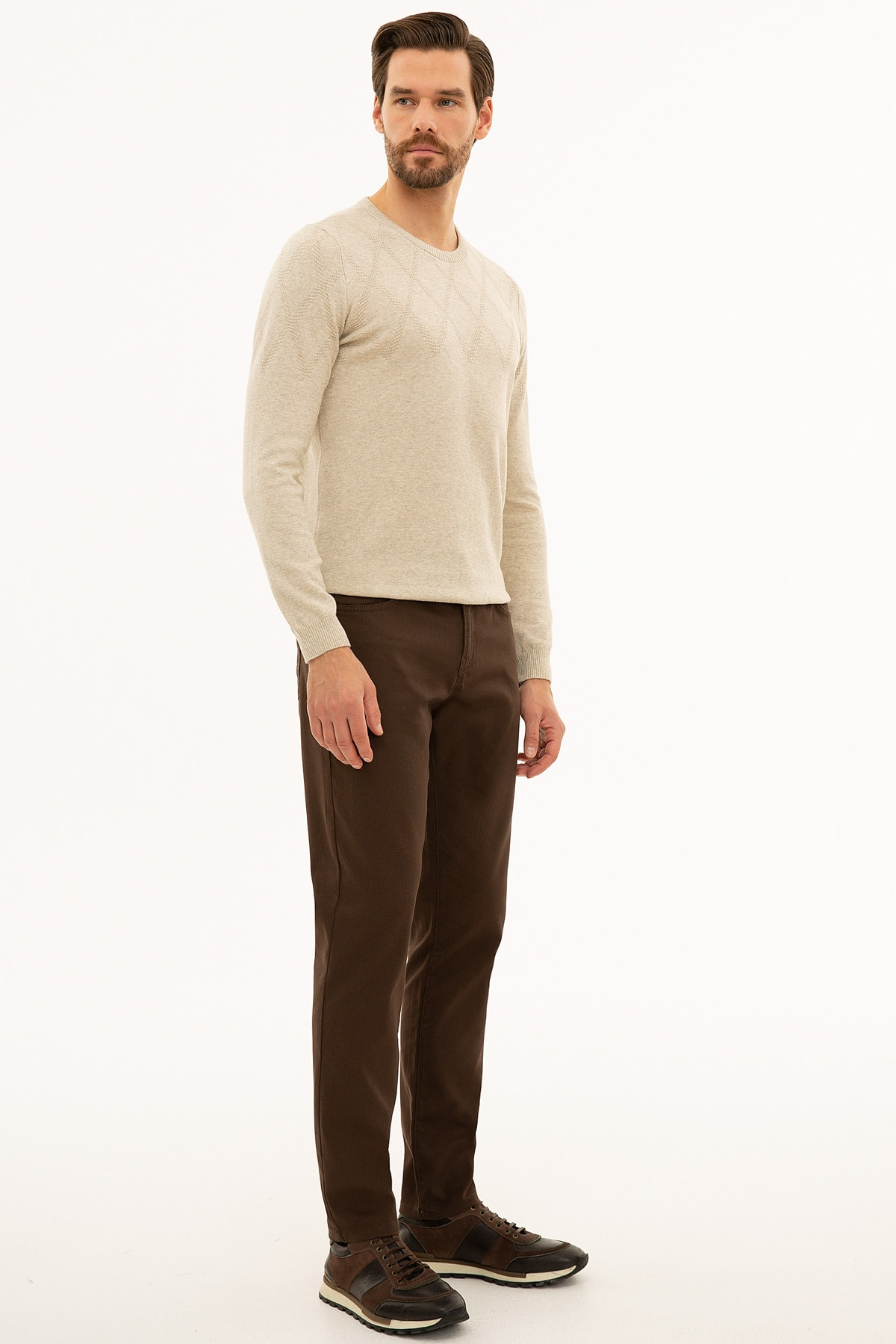 Pierre Cardin Erkek Kahverengi Slim Fit Chino Pantolon 2