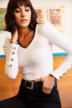Olalook Kadın Beyaz Yaka Dantelli Kolu Düğmeli Kaşkorse Bluz BLZ-19001205
