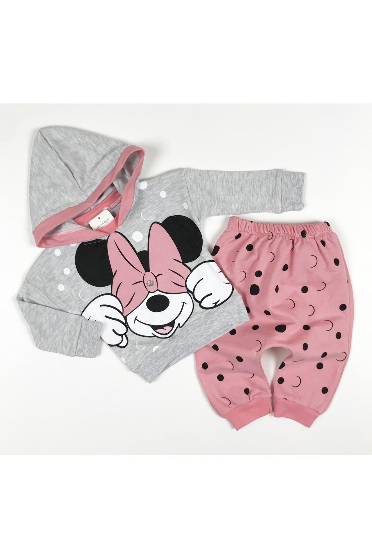Crazy Baby Kız Çocuk Gri Pembe Puanlı Mickey Takım 1
