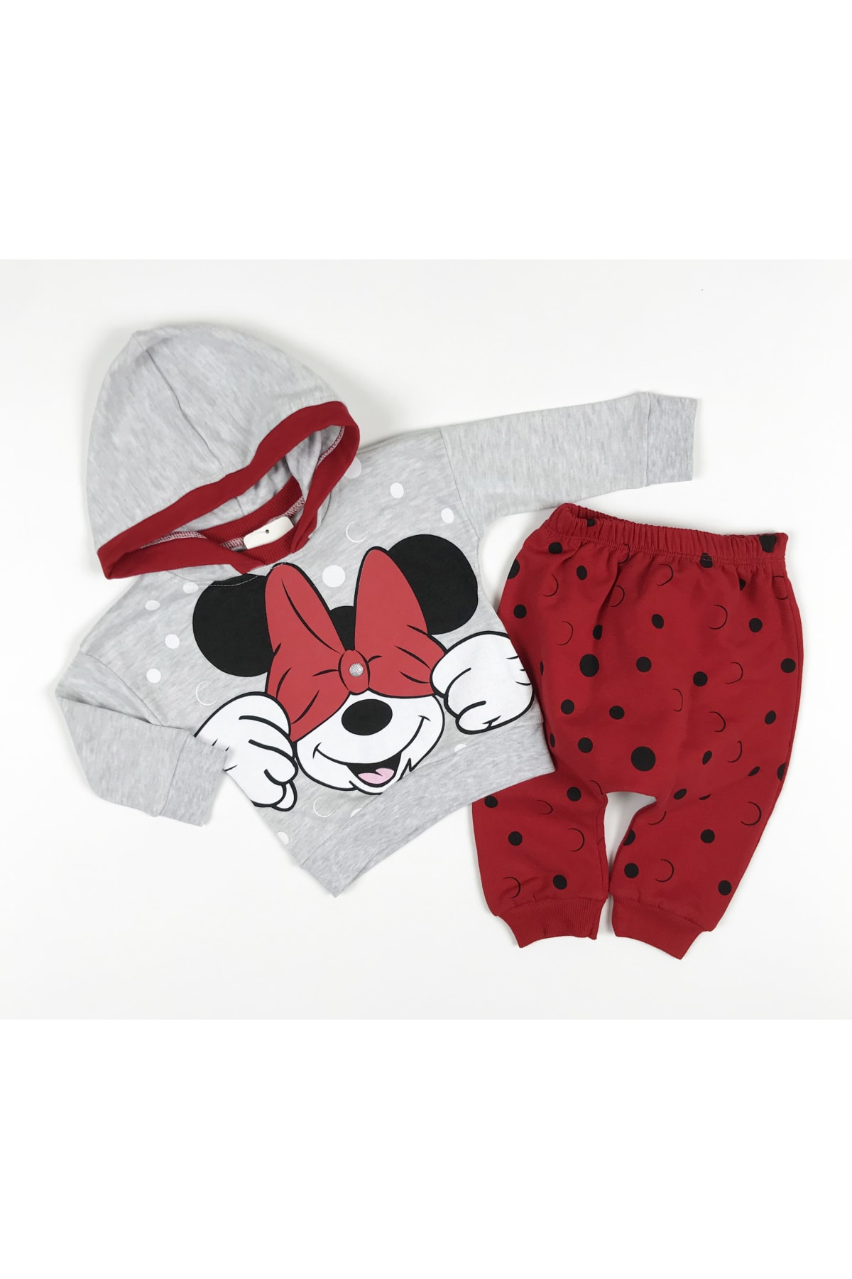 Crazy Baby Kız Çocuk Kırmızı Puanlı Mickey Takım 1
