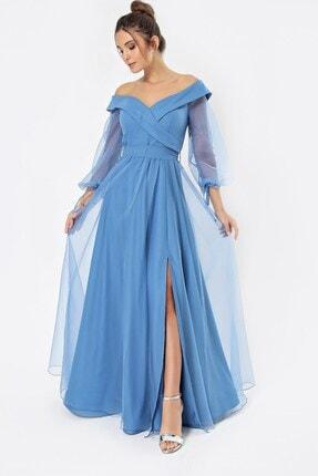 By Saygı Kadın Mavi Uzun Abiye Elbise