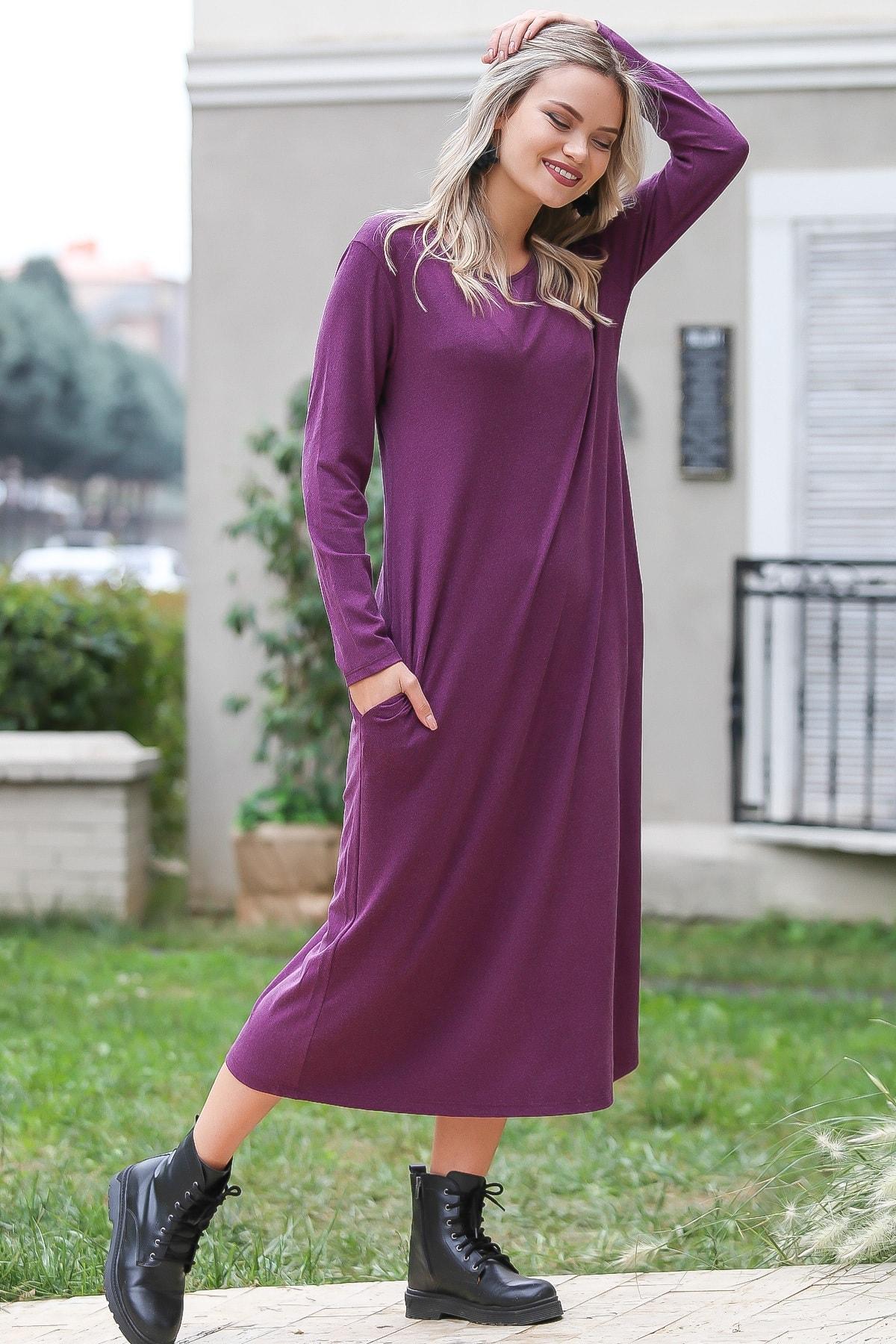 Chiccy Kadın Fuşya Casual Gizli Cepli Yumoş Elbise C10160000EL96084