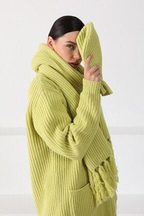 Ferraro Kadın Açık Yeşil Oversize Triko Hırka