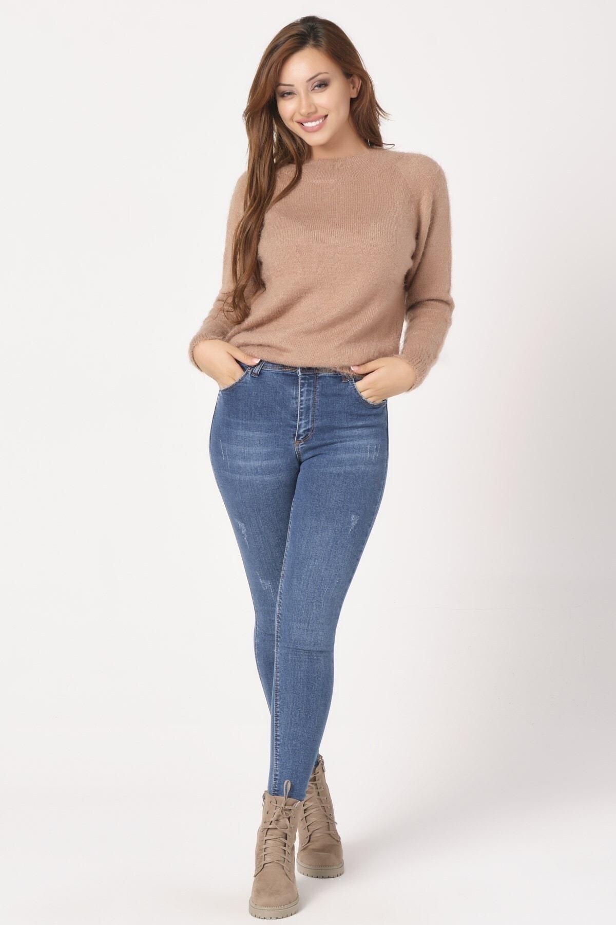 KETEEN Kadın Mavi Dar Paça Mira Bilek Kot Pantolon 1
