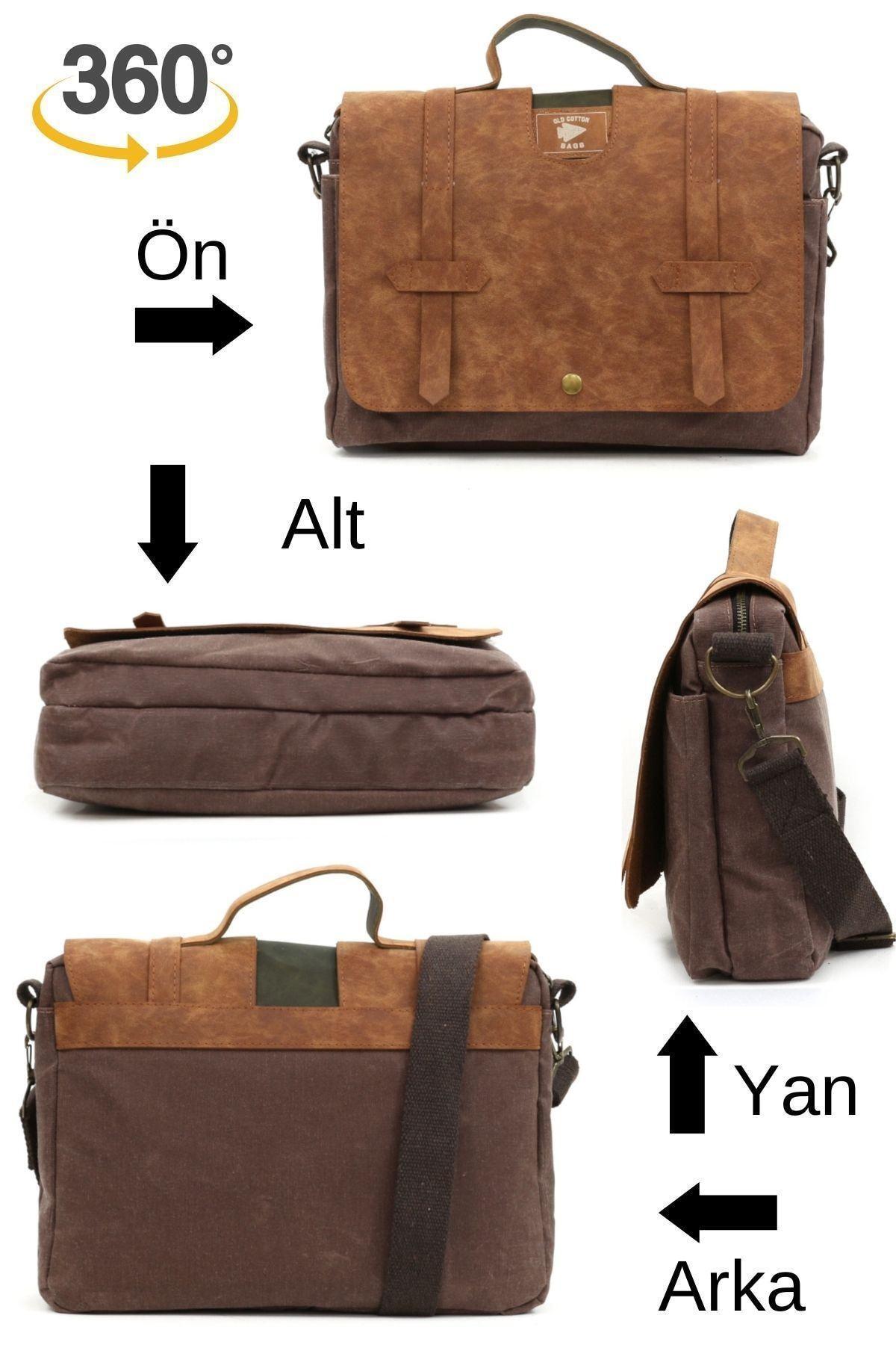 Old Cotton 7073 New Cortland Su Geçirmez Omuz-evrak-seyahat-15inch Laptop-notebook Çantası Camel 2