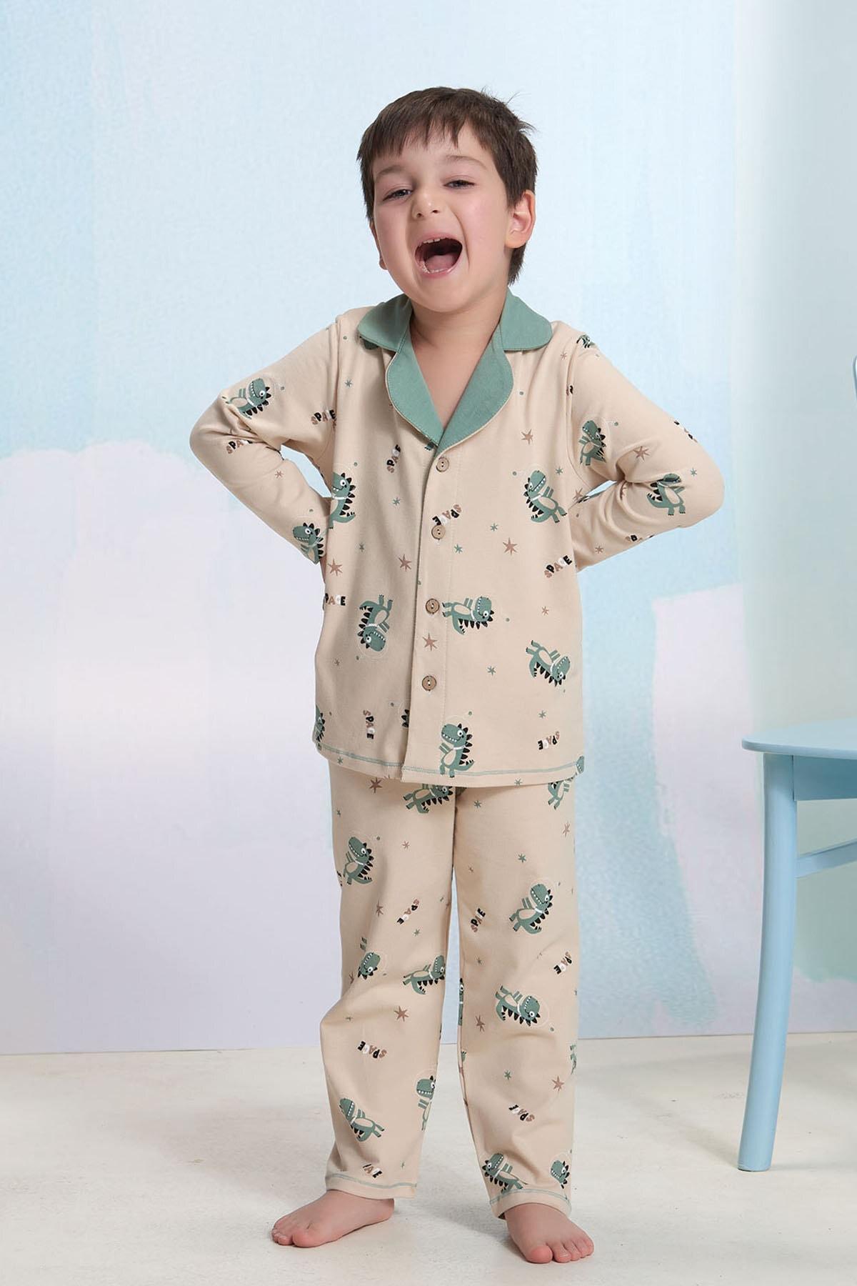 ZEYZEY Erkek Çocuk Düğmeli Pijama Takım 1