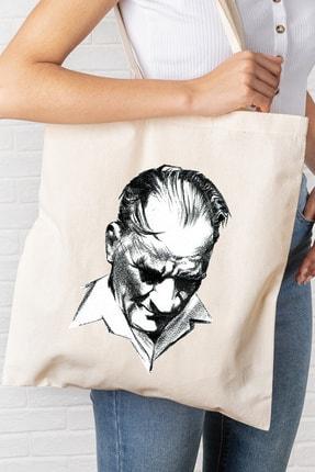 Hediyeler Kapında Atatürk Portreli Baskılı Kanvas Bez Çanta