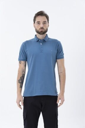 Exuma Erkek Mavi Polo Yaka T-shirt
