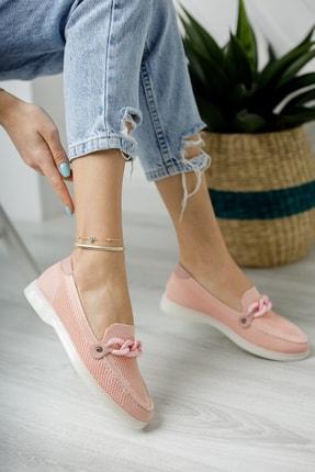Moda Değirmeni Kadın Pudra Triko Tokalı Günlük Ayakkabı