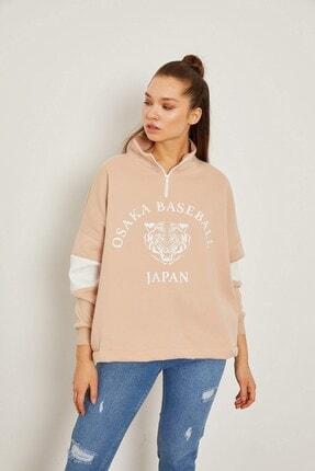 Arma Life Kadın Japan Baskılı Salaş Sweatshirt - Bisküvi