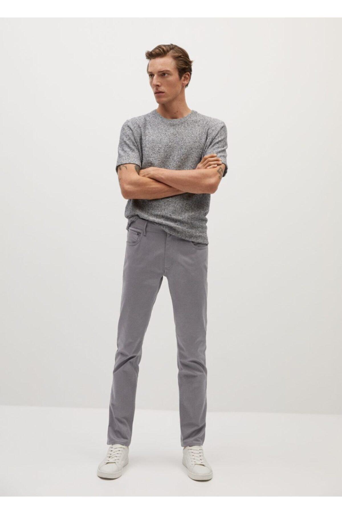 MANGO Man Erkek Gri Dar Kesim Denim Görünümlü Serj Pantolon  77001006 2